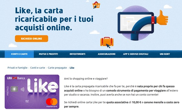 Carta prepagata Like - Ubi Banca Sito